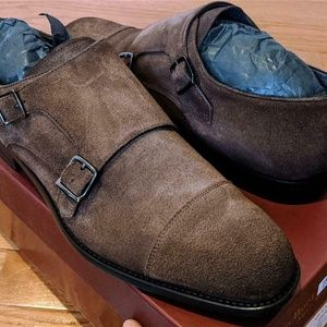 To Boot New York Quentin Monk Strap Suede Loafers
